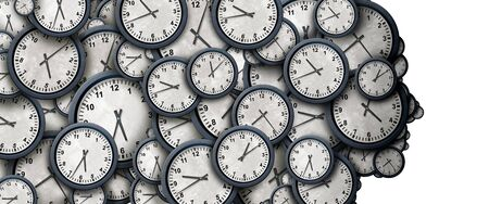 Concept of time thinking as a group of clock objects shaped as a human head as a business punctuality and appointment stress metaphor or deadline pressure and overtime icon as a 3D illustration. Stock Photo