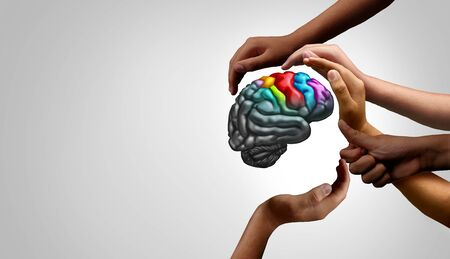 Mental health support and autistic brain and autism disorder symptoms or Asperger syndrome as a neurology icon and psychology or psychiatry diagnosis concept in a 3D illustration style. Stock fotó