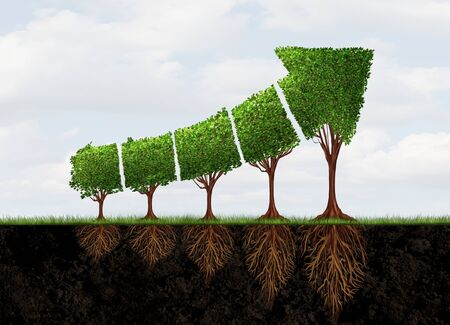 Growing economic success business growth as an abstract concept for profit graph made with plants shaped as an arrow with 3D illustration elements.