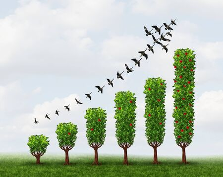 Business growing signs as an abstract concept for profit graph made with plants with 3D illustration elements.