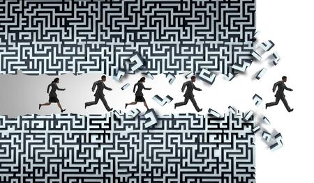 Business solution maze concept and career challlenge as businesspeople running through a maze finding a way out with 3D illustration elements.