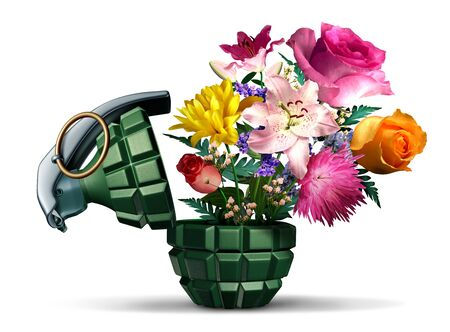 Grenade weapon and flowers as a symbol for terror or war and peace on a white background as an unexploded bomb object with a pin as a vintage explosive device with 3D illustration elements. 版權商用圖片