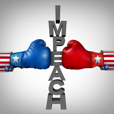 Impeach fight as Republican and Democrat politicians fighting an impeachment political disagreement as a USA government and United States federal debate between the left and the right with 3D illustra 스톡 콘텐츠