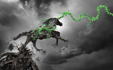 Concept of power and motivation as a surreal horse made of roots breaking free as an enironmental hope symbol in a 3D illustration style. Stock Photo