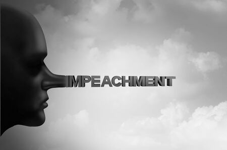 Impeachment and impeach concept or political impeaching of a president using fraudulent tactics as a politician that is a liar or a leaker or government trust symbol with 3D illustration elements.