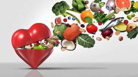 Healthy food concept and nutritional ingredients for heart health with fruit vegetables nuts fish and beans as a natural diet with 3D illustration elements. Reklamní fotografie