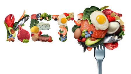 Keto food and ketogenic diet as a low carb and high fat food eating lifestyle as fish nuts eggs meat avocados as a therapeutic meal isolated on a white background with 3D illustration elements.