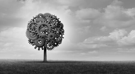 Industry tree and business success plant made with gears and cogs with 3D Illustration elements.