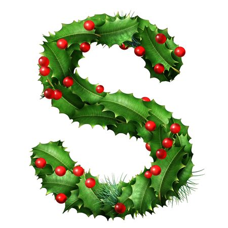 Holiday font letter S as a festive winter season decorated garland as a Christmas  or New Year seasonal alphabet lettering isolated on a white background as a 3D illustration. Stock Photo