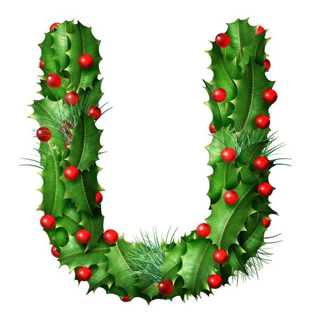 Holiday font letter U as a festive winter season decorated garland as a Christmas  or New Year seasonal alphabet lettering isolated on a white background as a 3D illustration.