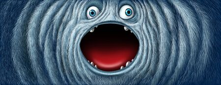Yeti snow monster face as a fury bigfoot sasquatch or big foot abominable snowman winter creature with an open mouth as a funny character with copy space as a greeting with 3D illustration elements.