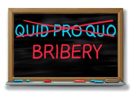 Bribery and political corruption as politics with quid pro quo replaced with another word as an unethical political action in giving something for a favour as an exchange or illegal extortion as a 3D illustration.