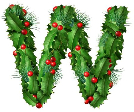 Holiday font letter W as a festive winter season decorated garland as a Christmas  or New Year seasonal alphabet lettering isolated on a white background as a 3D illustration. Stock Photo