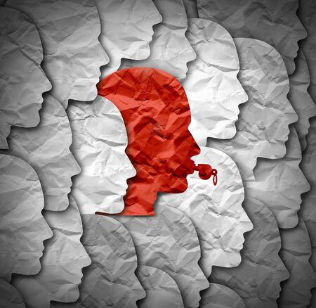 Concepto de identidad de denunciante y símbolo de denunciante que representa a una persona en el gobierno y la sociedad o una empresa que expone la corrupción y el soborno como un silbato rojo con forma de cabeza humana en un estilo de ilustración 3D.