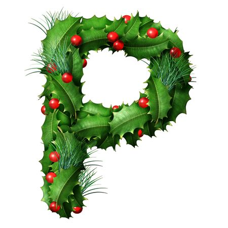 Holiday font letter P as a festive winter season decorated garland as a Christmas  or New Year seasonal alphabet lettering isolated on a white background as a 3D illustration.