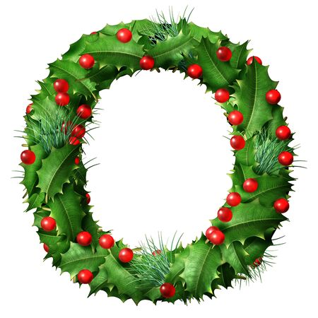 Holiday font letter O as a festive winter season decorated garland as a Christmas  or New Year seasonal alphabet lettering isolated on a white background as a 3D illustration. Stock Photo