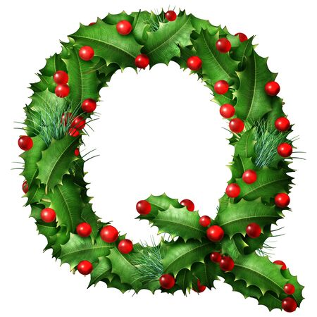 Holiday font letter Q as a festive winter season decorated garland as a Christmas  or New Year seasonal alphabet lettering isolated on a white background as a 3D illustration. Stock Photo