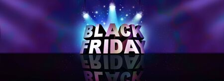 Black friday background sale banner sign as a text on a stage with spot lights for seasonal promotions and advertising to celebrate a November holiday season shopping offering discounted prices as a 3D illustration.