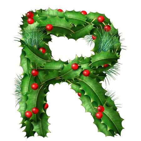 Holiday font letter R as a festive winter season decorated garland as a Christmas  or New Year seasonal alphabet lettering isolated on a white background as a 3D illustration.