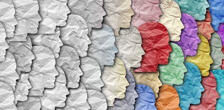 Le changement démographique en tant que grand groupe de personnes en tant que diversité changeante dans une population. Banque d'images