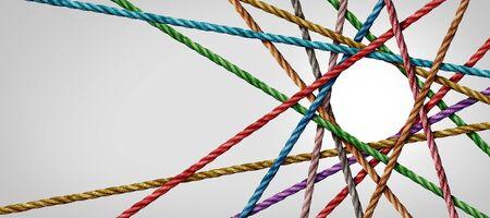 Divesticità connessa e gruppo di corde a forma di cerchio che creano una forma circolare centralizzata come concetto di connessione connect