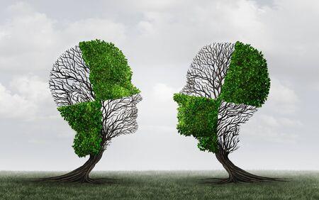 Verbindingsconcept als een onvolledig symbool dat met elkaar verbindt als een perfect matchcommunicatiepictogram met 3D-illustratie-elementen. Stockfoto