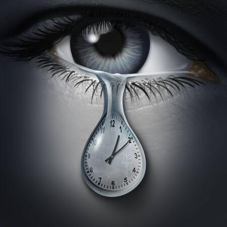 Psychologia lęku czasowego i zaburzenia zdrowia psychicznego spowodowane strachem przed śmiercią i spóźnieniem lub uczuciami i niepokojem emocjonalnym na spotkania i terminy z elementami ilustracji 3D.