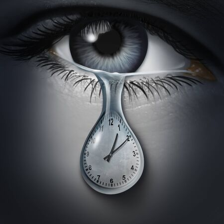 Time anxiety psychology and mental health disorder caused by the fear of death and being late or feelings and emotional distress for appointments and deadlines with 3D illustration elements.