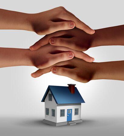 Hausratversicherung und Einfamilienhaussicherung als Hausschutz mit 3D-Darstellungselementen. Standard-Bild