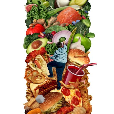 Eating healthier or eat healthy nutrition and diet concept for changing food habits from high calorie snacks to fresh ingredients with 3D illustration elements.