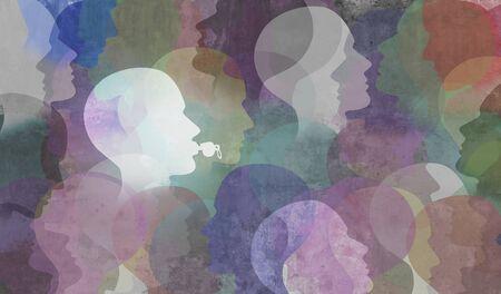 Concept d'employé dénonciateur anonyme et symbole dénonciateur représentant une personne dans la société ou une entreprise exposant la corruption sous la forme d'un sifflet en forme de tête humaine dans un style d'illustration 3D.