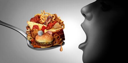 Child obesity epidemic and juvenile diabetes health risk for medical problems of children eating unhealthy snacks resulting in fat obese kids with 3D illustration elements.