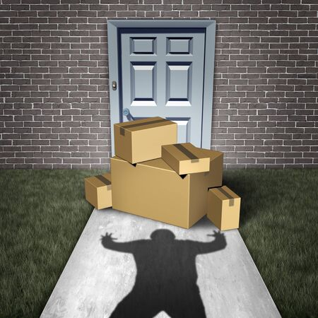 Package theft and porch pirate thief stealing packages from a home delivered to a front door as a burglar robbing boxes from a doorstep with 3D illustration elements.