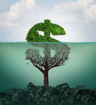 Cost of pollution and financial costs of polluted water contamination with hazardous industrial waste as a tree shaped as a dollar sign underwater with the toxic liquid killing the plant with 3D illustration elements. Banco de Imagens