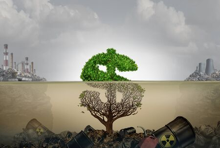 Financial costs of pollution and economic cost of polluted water contamination with hazardous industrial waste as a tree shaped as a dollar sign underwater with the toxic liquid killing the plant with 3D illustration elements.