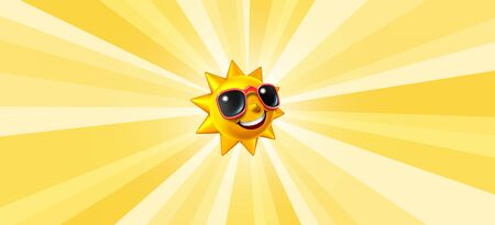 Smiling summer sun radiant background with a happy glowing character with sunglasses as a hot symbol of vacation and relaxation with sunny weather with rays of light as a 3D illustration.