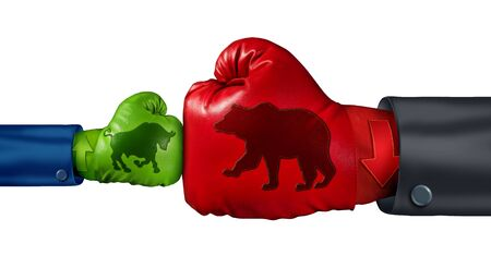 Investing in a bear stock market as a big bearish symbol fighting a small bull icon as a financial and economic battle with strong negative market forces with 3D illustration elements.