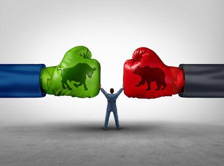 Chef de file du gestionnaire d'investissement et concept d'entreprise de gestion financière en tant qu'homme d'affaires ou conseiller financier séparant deux tendances de marché opposées dans un style d'illustration 3D. Banque d'images