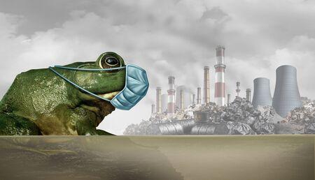 Konzept für Tiere und Umweltverschmutzung und Tierschutz und Tierschutz als Frosch, der eine medizinische Maske trägt, um sich vor umwelttoxischer Luft und Industrieabfällen als Schutz mit 3D-Illustrationselementen zu schützen.