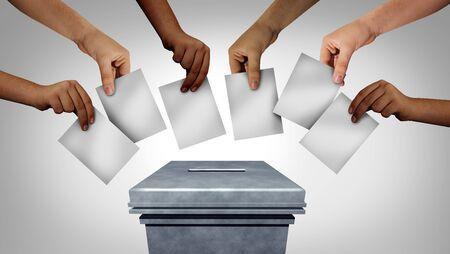 Community vote and voting diversity concept and diverse hands Banque d'images