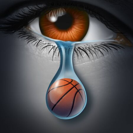 Sports depression and tragic sport event and grief psychology symbol as a basketball inside a crying tear drop as a depressed fan from a sad eye in a 3D illustration style.