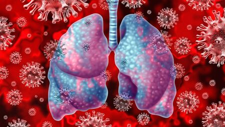 Respiratory virus and coronavirus outbreak and coronaviruses influenza background as dangerous flu strain cases  or SARS as a pandemic medical health risk concept with infected human lungs as a 3D render Archivio Fotografico