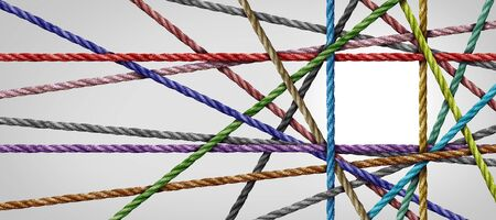 Divesisty connection and square shaped group of ropes creating a centralized angular shape as a connect concept for business or social media.