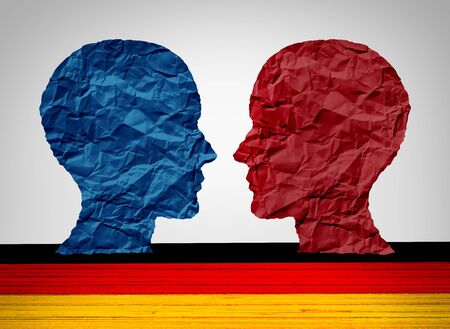 Germany far left and far right wing political concept as a Berlin and German political and Europe social thinking idelogies concept with two sides of opposing European ideology with 3D illustration elements.