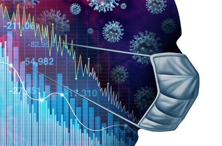 Coronavirus economic fear and economy fears and disease as a global pandemic or virus Outbreak and Stock market selling as a sick financial and business recession concept with 3D illustration elements.