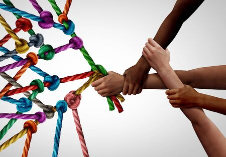 Concept of business team as a group of diverse people pulling together in collaborative support as a teamwork effort to win.