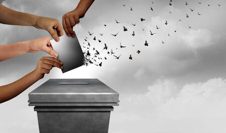 End of democracy and voter suppression in an election and voting rights as a diverse electorate casting a ballot at a US polling station as a right to vote as hands holding a ballot with 3D illustration elements.