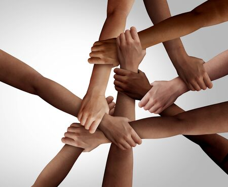 Business diversity and teamwork as a group of diverse people holding arms as a multiracial society and corporate multicultural community joined and united team building as a together and togetherness concept.