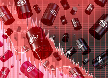 Falling oil price dive and decrease of petroleum costs concept as a barrel with supply and demand shaped as a downward arrow as a metaphor for energy stock market decline with 3D illustration elements.