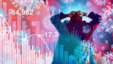 Coronavirus financial panic and economy disease as an economic pandemic fear and virus Outbreak fears and Stock market fall as a business recession concept with 3D illustration elements.